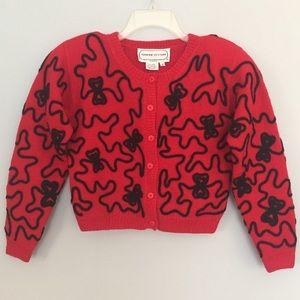 Adrienne Vittadini Red Bolero Sweater Black Ribbon